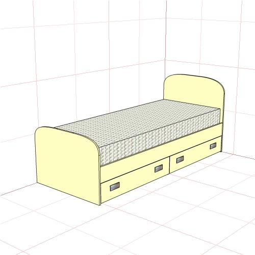 Кровать односпальная (850мм + 2 ящика)