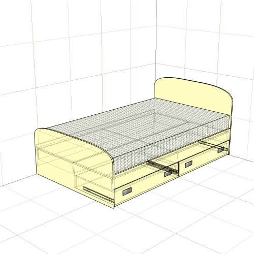 Кровать полуторная 1250 мм+2 ящика