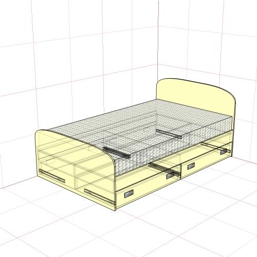 Кровать полуторная 1250 мм+4 ящика