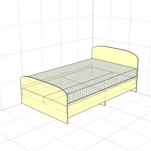 Кровать полуторная 1250 мм
