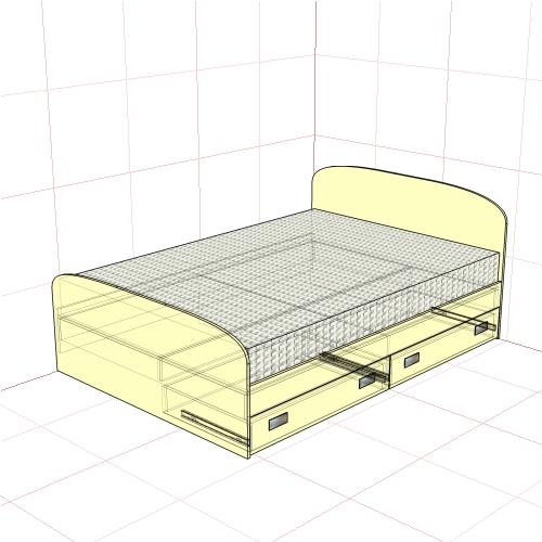 Кровать полуторная 1450 мм + 2 ящика