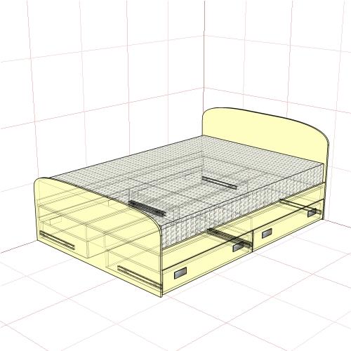 Кровать полуторная 1450 мм + 4 ящика
