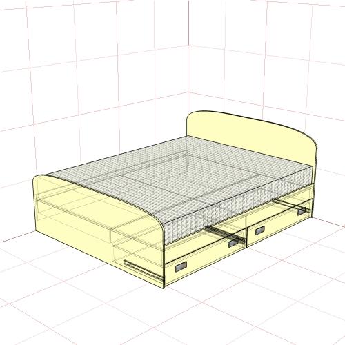 Кровать двуспальная 1650 мм + 2 ящика