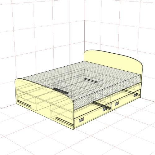 Кровать двуспальная 1650 мм + 4 ящика