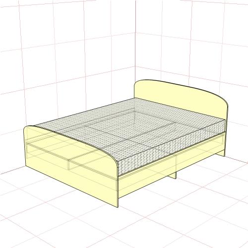 Кровать двуспальная 1650 мм