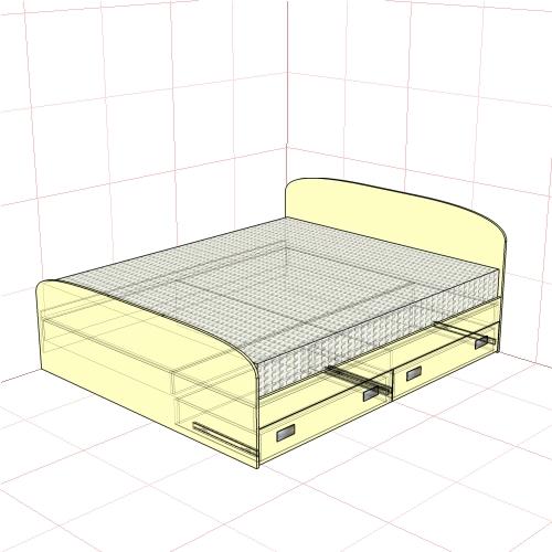 Кровать двуспальная 1750 мм + 2 ящика