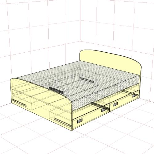 Кровать двуспальная 1750 мм + 4 ящика