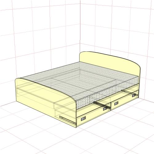 Кровать двуспальная 1850 + 2 ящика