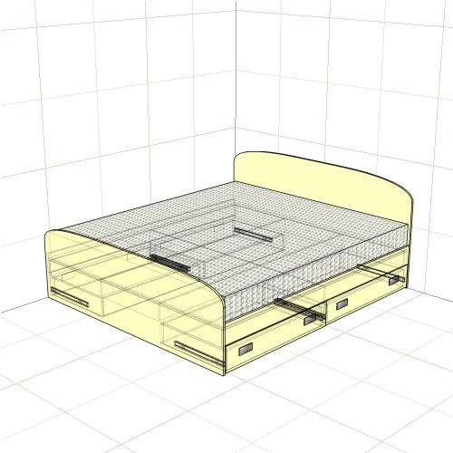 Кровать двуспальная 1850 мм + 4 ящика
