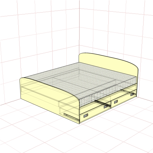 Кровать двуспальная 1950 мм + 2 ящика