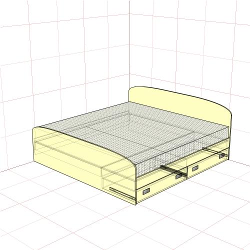 Кровать двуспальная 2050 мм + 2 ящика