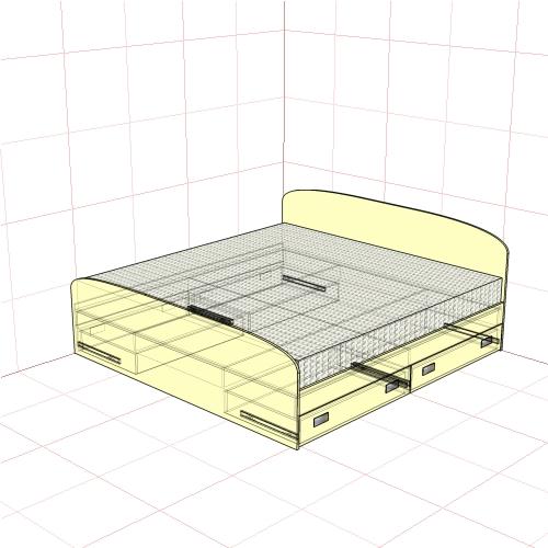 Кровать двуспальная 2050 мм + 4 ящика